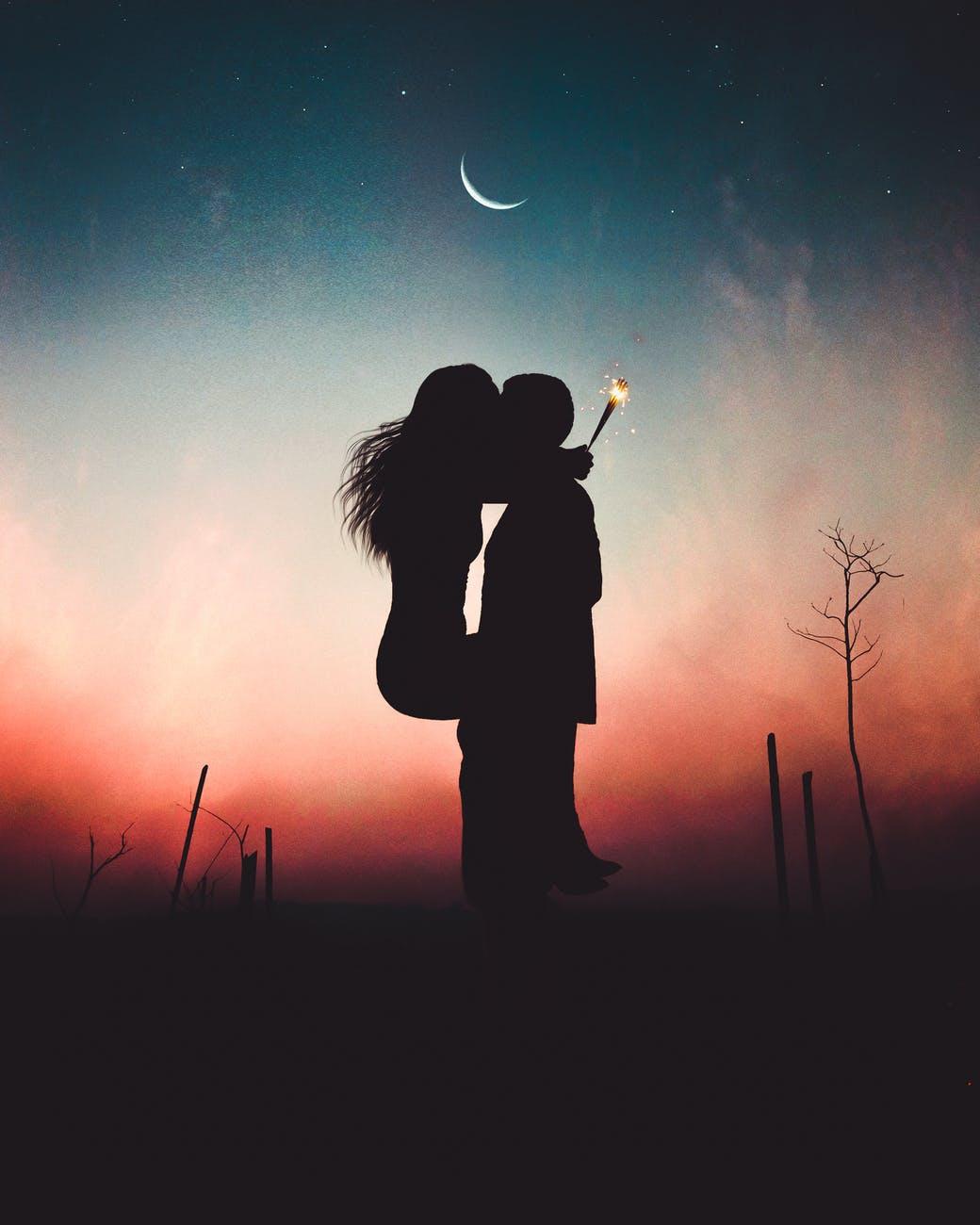 affection art backlit couple